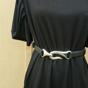 Chico's black leather belt silver latch buckle M/L